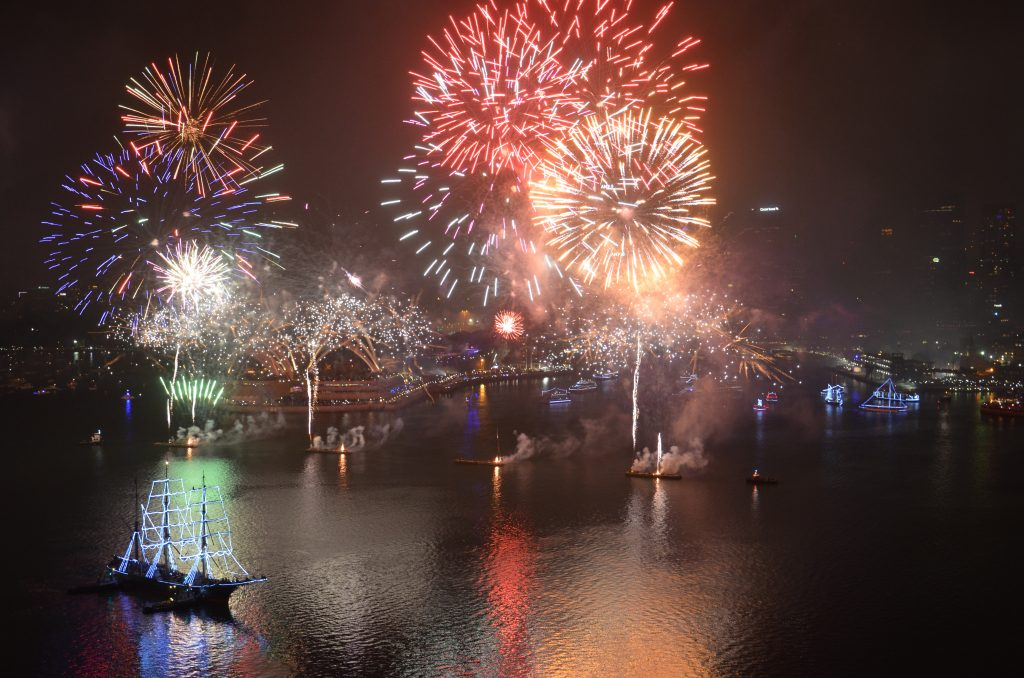 Dazzling New Year's Eve & 2018 New Year celebrations at Sydney's iconic and illuminated city harbour. Sydneysiders and visitors from overseas and other parts of Australia crowded key foreshore locations in their quest for an ultimate vantage point to witness the annual pyrotechnics spectacular.